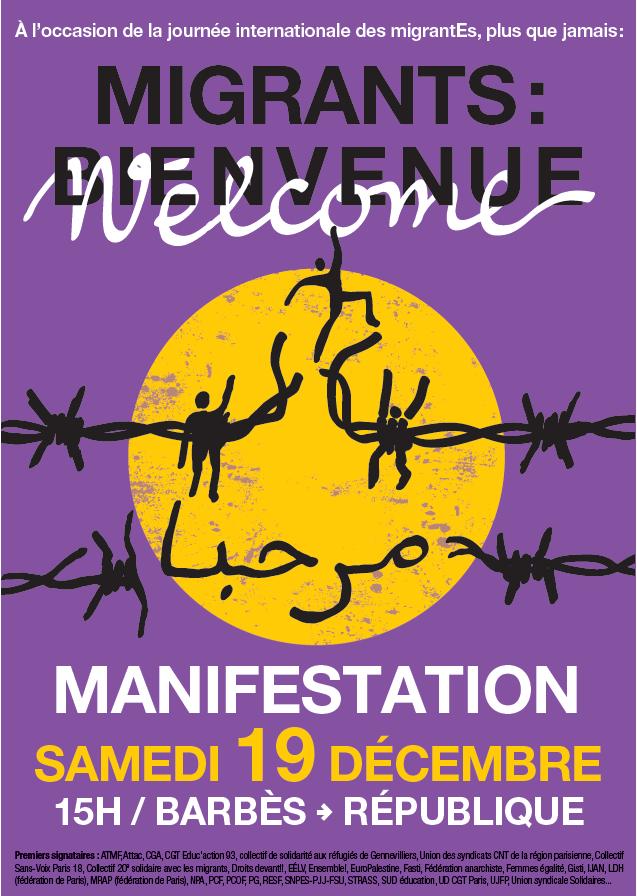 Manifestation « Migrants : bienvenue ! », samedi 19 décembre à Paris dans Articles affmigrantsbienv19-12