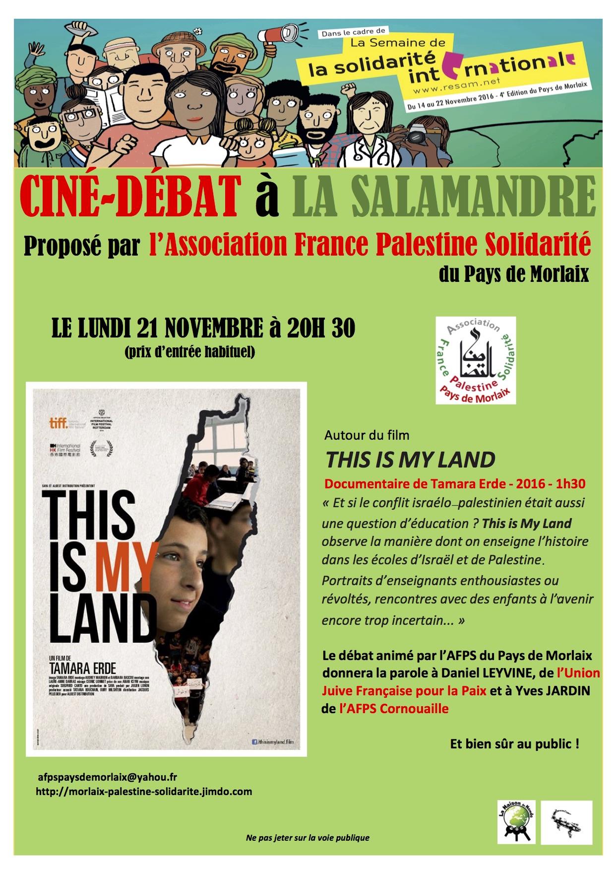 Projection suivi d'un débat avec Yves Jardin (AFPS de Cornouaille) et Daniel Lévyne (UJFP Bretagne) Organisée par le comité AFPS de Morlaix.